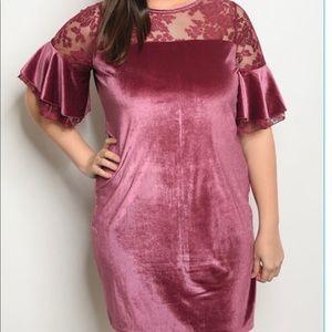 C.O.C MAUVE DRESS VALVET SIZE 1X (NWT)